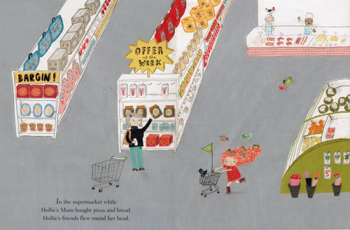 a-page-from-a-childrens-book-showing-a-girl-in-a-supermarket