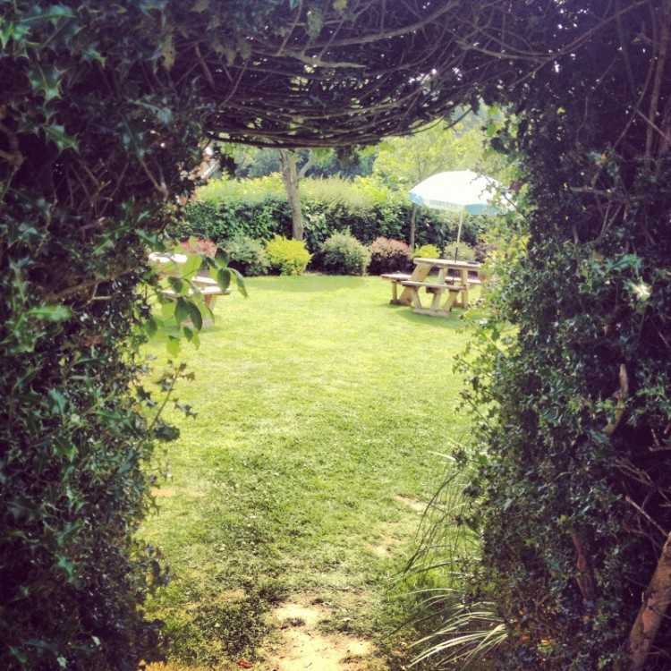 view-of-pub-garden-through-a-hole-cut-in-a-hedge