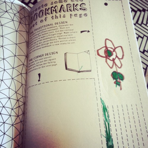 childs-drawing-of-flower-on-bookmark