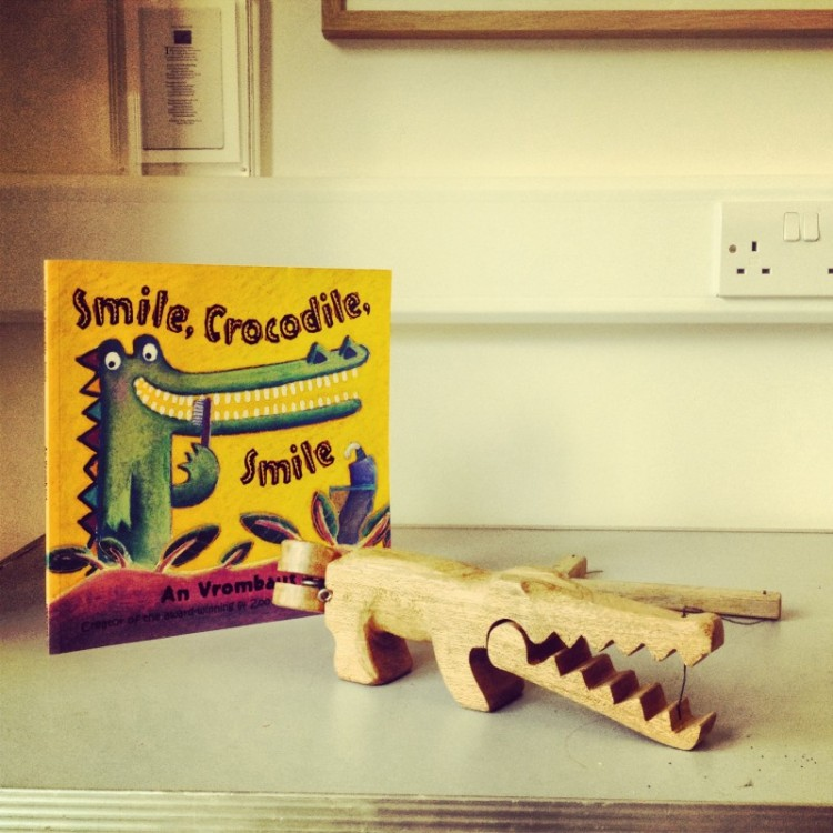 story-book-and-wooden-croc