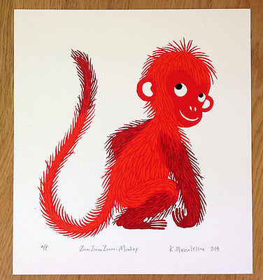 'Zoom Zoom Zoom Monkey' signed limited edition print by Katherina Manolessou