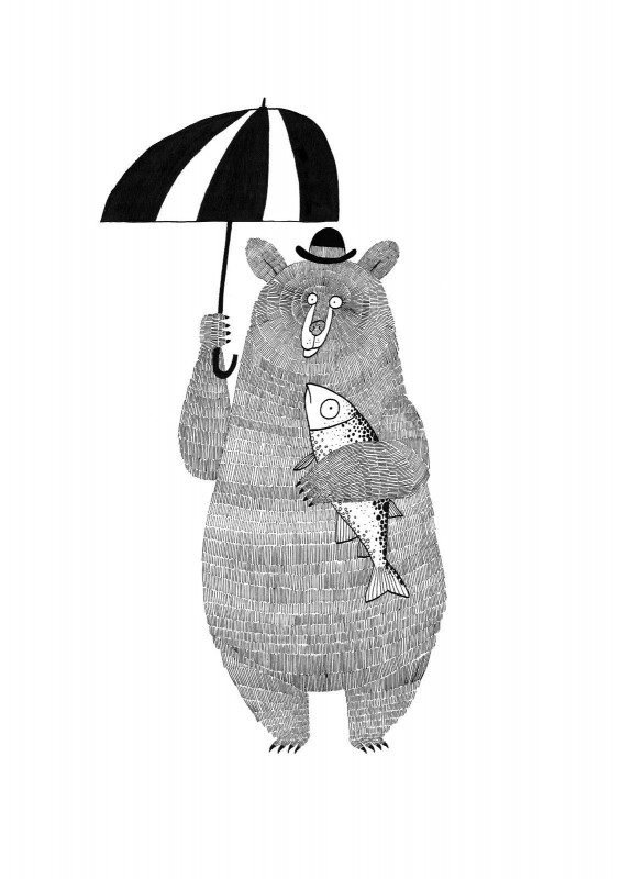 'Bear, Brolly and Salmon' by Jim Field